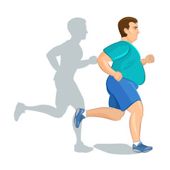 Illustration of a fat cartoon man jogging, weight loss concept
