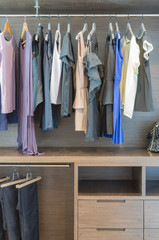 women's clothes hanging on rail in wooden closet