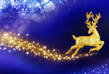 Christmas fantasy with golden reindeer