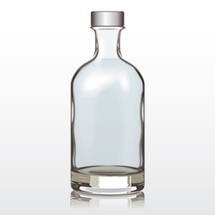 Mockup Glass Bottle Silver Cap, Vector Illustration