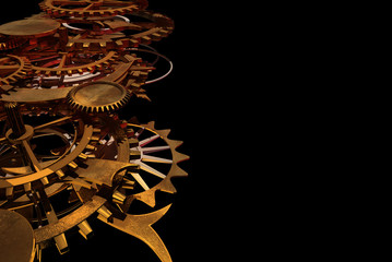 Gold Clock Works, or Machine Works with space for copy