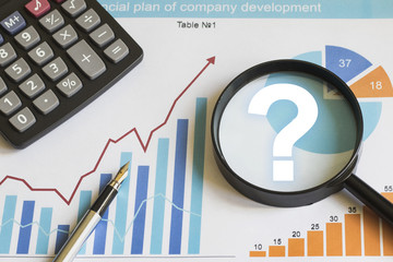 Wall Mural - Businessman search loupe magnifier question web chart