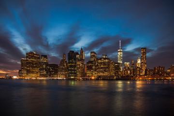 Skyline Downtown Manhattan New York at night
