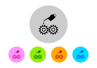 Colorful industrial icons on white background