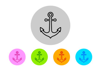 Colorful anchor icons on white background