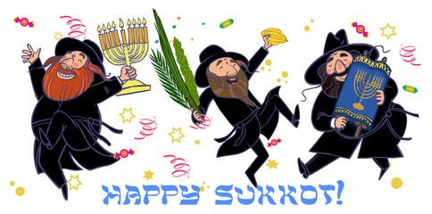 Funny cartoon jewish men dancing wiht ritual plants for Sukkot.
