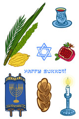Vector iconset for Sukkot (Jewish Traditional Holiday).