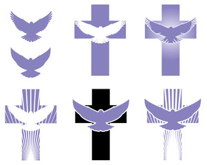 Cross and Dove logo elements