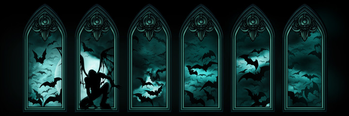 Halloween banner with bats, a fallen angel or a vampire, windows and the moon