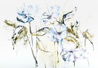 Stylizowane ręcznie rysowane akwarela Cichorium kwiaty w impresjach