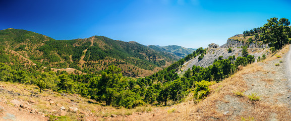 Panoramic View Of Mountains Landscape and serpentine road in Mal