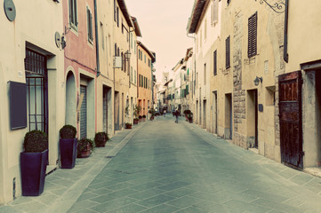 Fototapete - San Quirico d'Orcia small town, municipality in Tuscany, Italy.