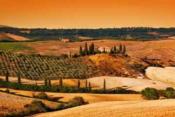 Toscane landschap bij zonsondergang. Toscaanse boerderij, wijngaard, heuvels.