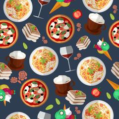 Italian food seamless pattern with elements of food: pizza, pasta, tiramisu, ice cream, cappuccino, wine, tomato. EPS 10. Vector illustration