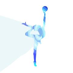 Modern rhythmic gymnastics woman with ball silhouette illustrati
