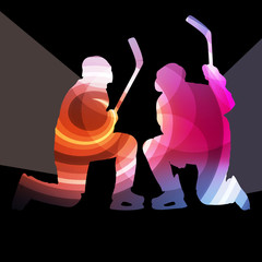 Hockey player man silhouette illustration vector background colo