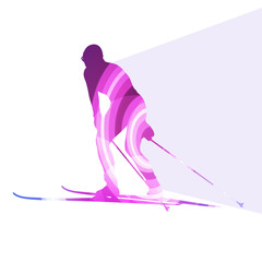 Woman on ski silhouette illustration vector background colorful