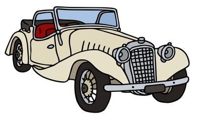 Papiers peints Cartoon voitures Vintage cream roadster, hand drawn vector illustration