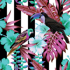 tropical birds and flowers pattern, striped background