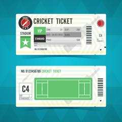 Cricket ticket card modern design. Vector illustration