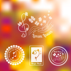 Musical set of logos, badges and labels. Logo with elements of butterfly, note, treble key and bass key. Vector illustration. Concerts, festivals, opera, karaoke logo.