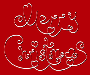 Merry Christmas with hearts .