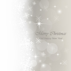 Christmas light vector greeting card with snow, flakes and glow.