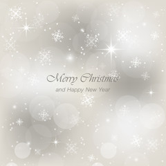 Christmas and Happy New Year greeting card with snow, flakes and glow. Vector light abstract background.
