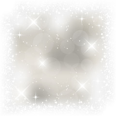 Abstract vector light Christmas card. Winter background with snowfall, stars, shiny effect and bubbles.
