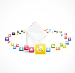 white envelope with icon