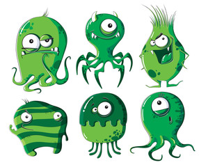 Cartoon microbes and bacteria