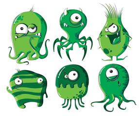 Cartoon microbes and bacteria