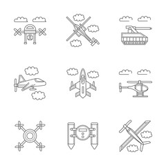 Military drones linear vector icons set