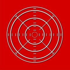 Vector target icon, Crosshair, red background
