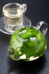 Tea with fresh mint. Vertical