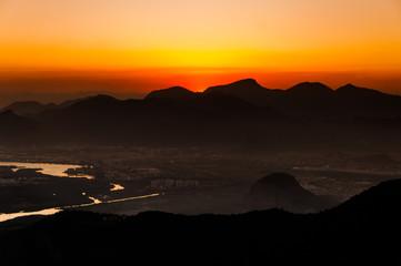 Fototapete - Sunset Over Mountains of Rio de Janeiro