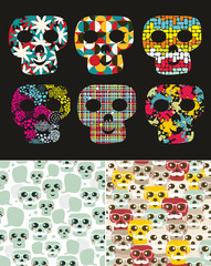Set of illustrations with skull.