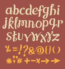 Vector alphabet calligraphy set. Hand drawn letters.