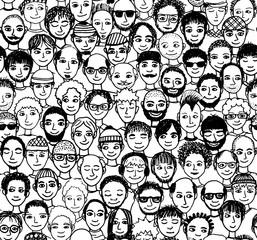 Männer - handgezeichnetes Hintergrundmuster / Endlosmuster mit vielen unterschiedlichen Männern