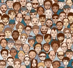 Männer - handgezeichnetes Hintergrundmuster / Endlosmuster mit vielen unterschiedlichen Männern (Farbversion)
