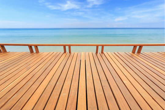 Wooden wooden or flooring and tropical beach