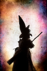 Color silhouette witch