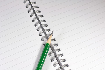 the empty notebook with green pencil, ready to note or work