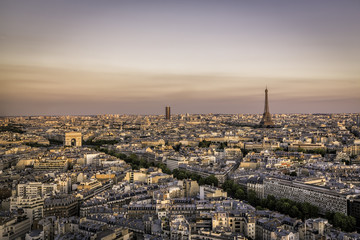 Sunset over Paris with Eiffel Tower and Arch de Triumphe