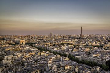 Beautiful sunset over Paris, France