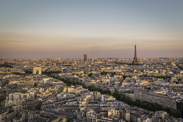 Sunset over city of Paris, France