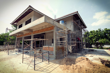 building residential construction house with scaffold steel Wall mural