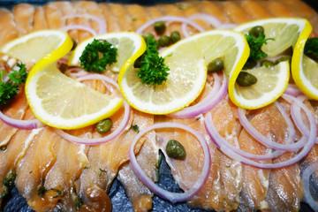 smoked salmon with lemon and shallot