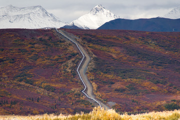 Oil Transport Alaska Pipeline Cuts Across Rugged Mountain Landsc