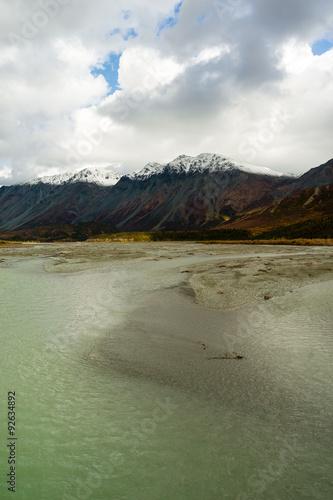 Wall mural Turquoise Water Gulkana River Flows by Alaska Range
